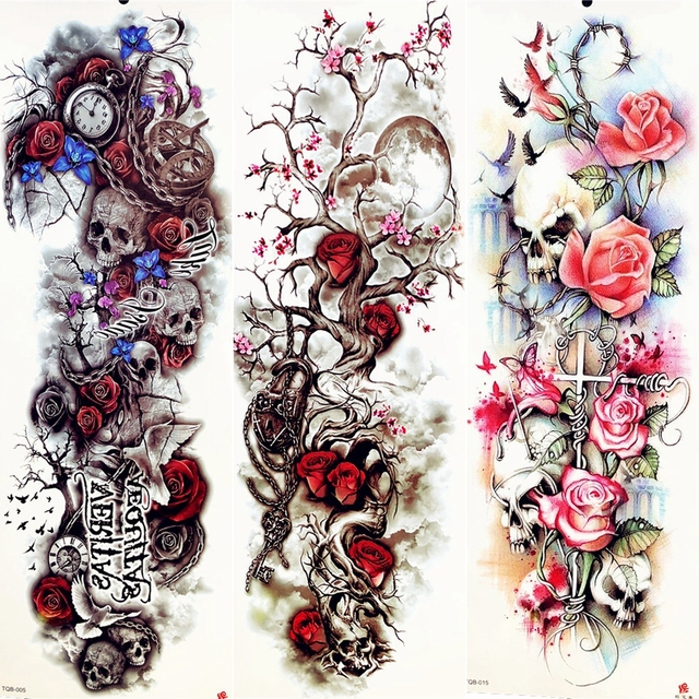 3d Plum Blossom Moon Tree Red Rose Temporary Tattoo Stickers Big