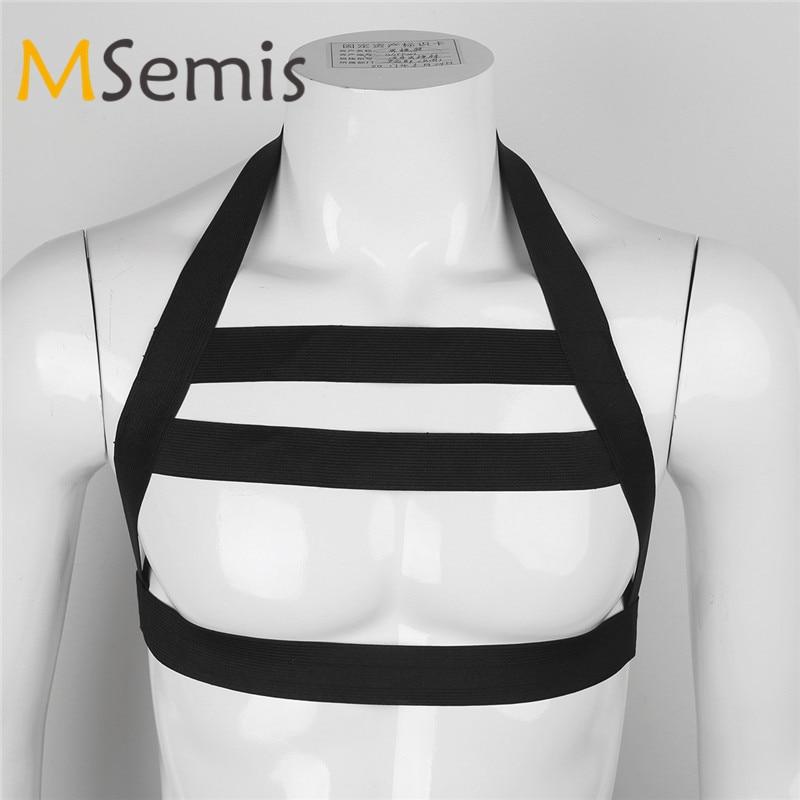 MSemis Harness Men Bondage Lingerie Nylon Halter Backless Body Chest  Harness Bondage Costume Hollow Out Straps Gay Men Harness