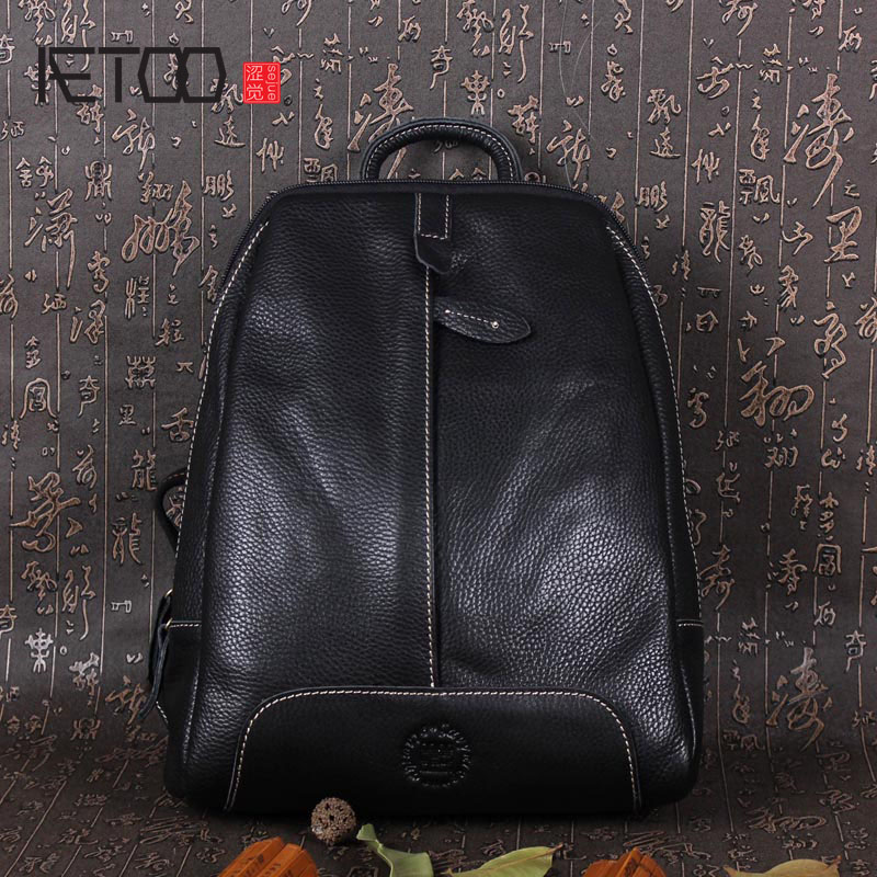 AETOO First layer of leather men and women shoulder bag handmade leather fashion wind backpack xiniu college wind women s shoulder bag backpack travel leather school rucksack women mochila feminina good quality sac a dos y