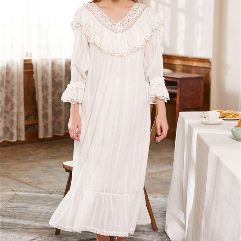 7ba0e9b585 Victorian Sleep Lounge Vintage Ruffles Slash Home Dress Long Nightgown  Sleepshirts Cotton NightDress Long Negligee Ladies T148-in Nightgowns    Sleepshirts ...