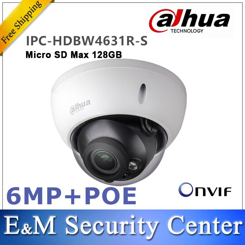 Original dahua IPC HDBW4631R S 6MP IP Dome Camera IK10 IP67 built in IR POE SD