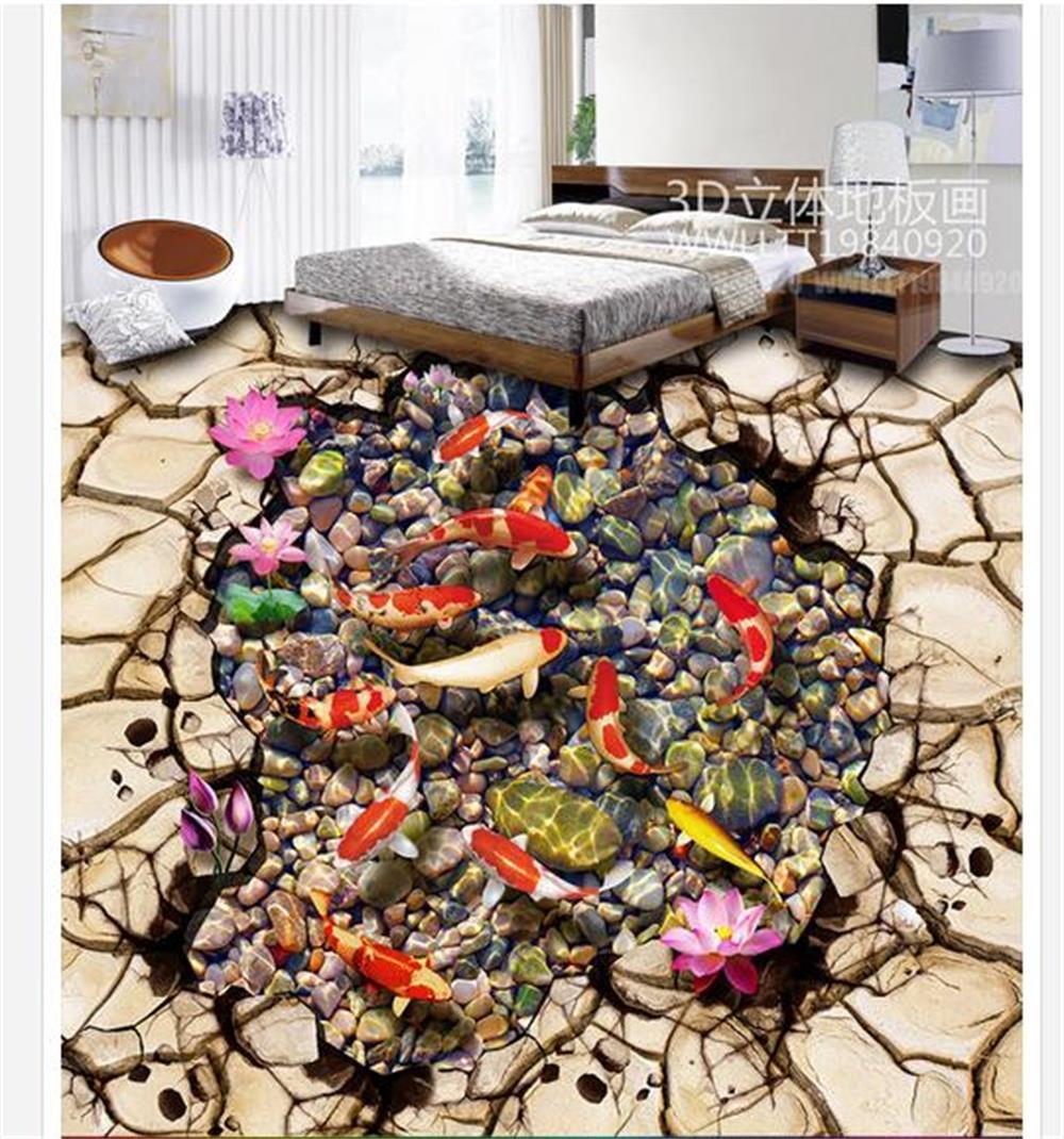 ФОТО Custom 3D PVC wallpaper photo wallpaper Lotus brocade carp brook stone 3 d bathroom floor tile floor wallpaper