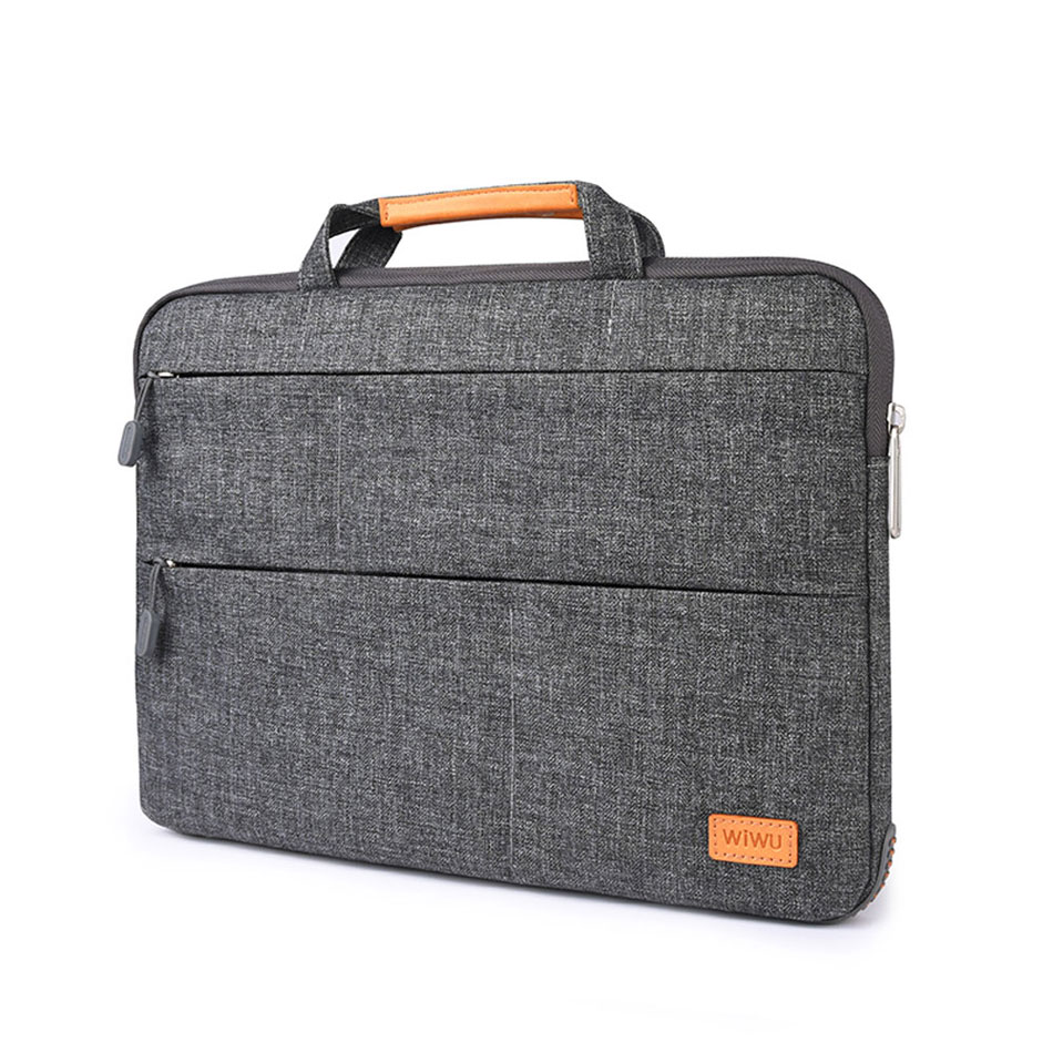 WIWU Laptop Bag Case Multi-Pockets Waterproof Nylon Notebook Bag for MacBook Pro 13 15 Air 13 Portable Laptop Case with Stand