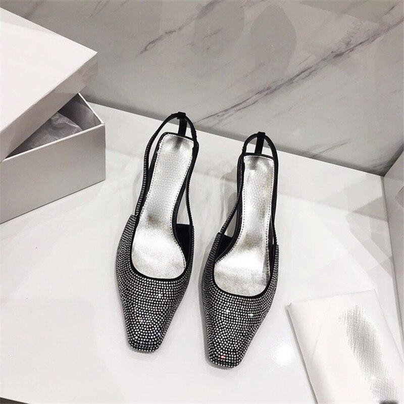 Shallow Mujer Black A Cristallo Strass green Modo Scarpe Drill Di Strano 2019 silver Zapatos Tacchi Festa Quadrata Donna Elegante Punta Pompe Tacco wqPHtqX8
