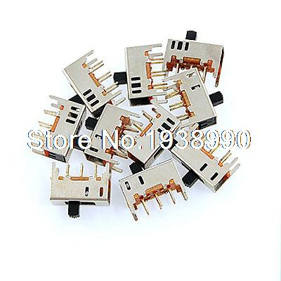 10 Pcs PCB DC 50V 0.3A 2 Position DPDT 2P2T Mini Vertical Slide Switch 6 Pin DIP