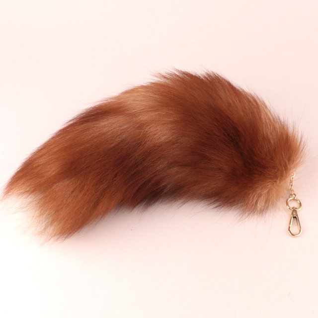 Real Fox Fur Tail Keychain Fur Ball Key Chain Keyring Bag Pendant for Woman free shipping