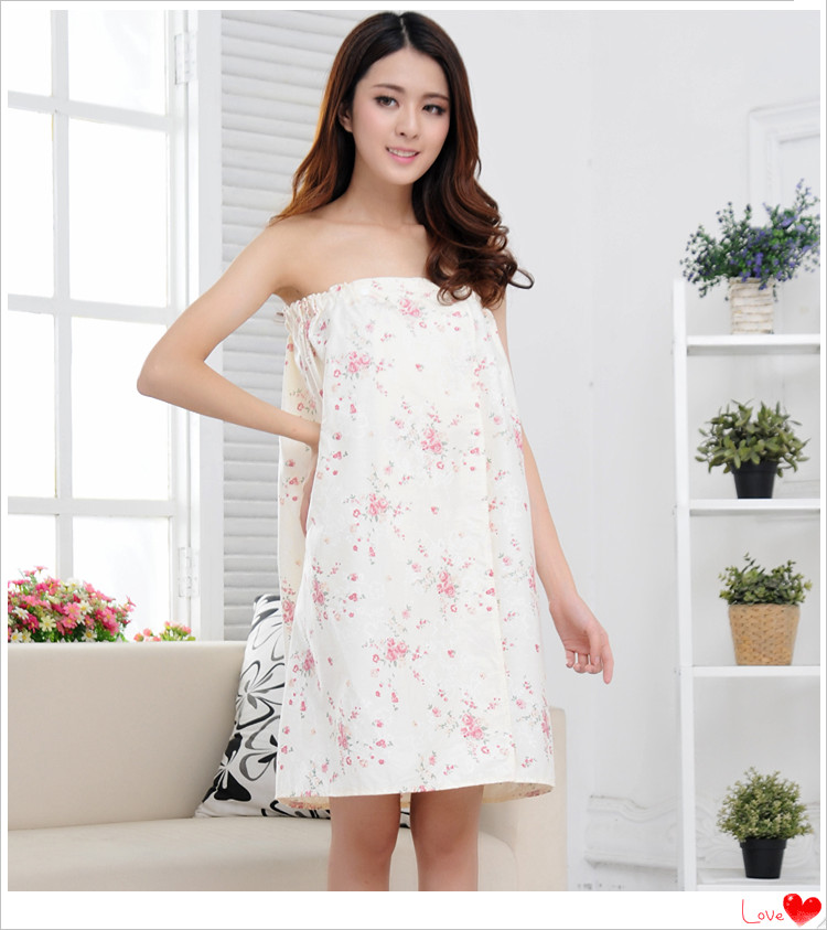 Beauty salon dress bathrobe bath skirt full cotton bath dress womens sweaty clothes wrapped in cotton chest nightgown skirt