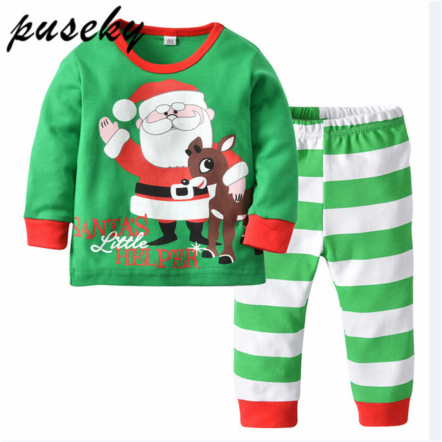 d07c61008ba8 Puseky Xmas Pajama Set Cotton Cartoon Deer Sleepwear Toddler Kids ...