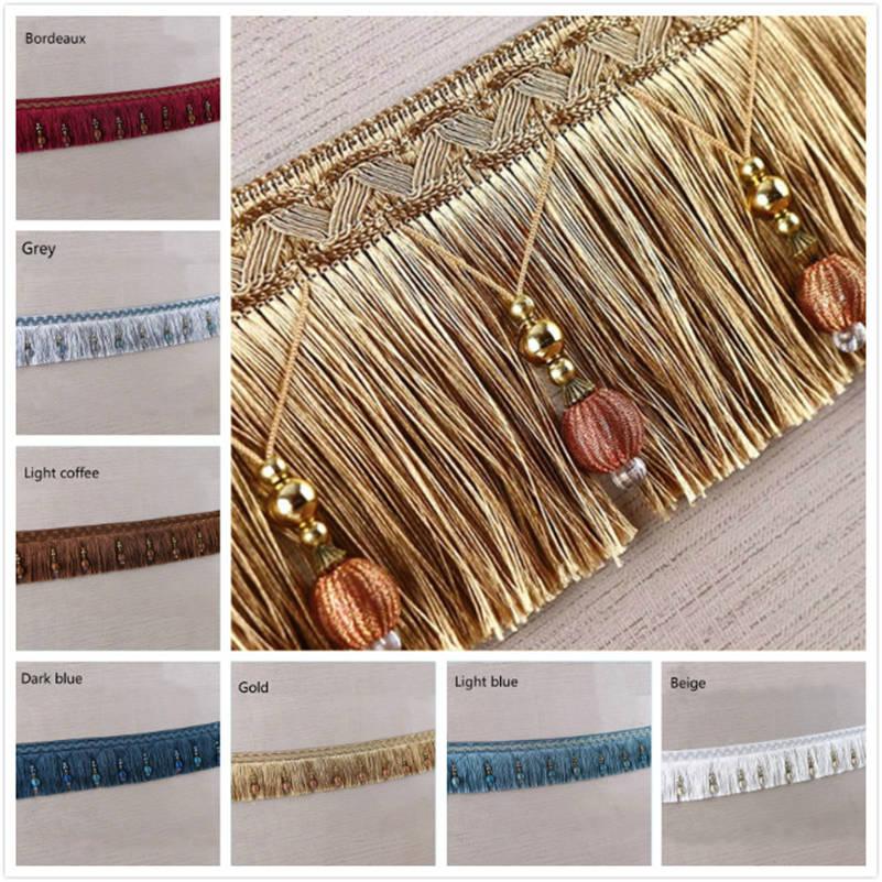 1 M Curtain Tassel Beaded Fringe Trimming Braid Trim Pom Pom Upholstery DIY Luxury Accessories Decorated