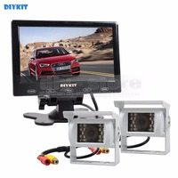 Wire 7 Inch Touch Car Monitor 2 X Rear View CCD Waterproof Car Camera Kit For