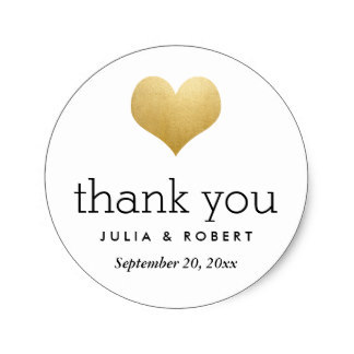 3 8cm Modern Faux Gold Foil Heart Wedding Thank You Clic Round Sticker