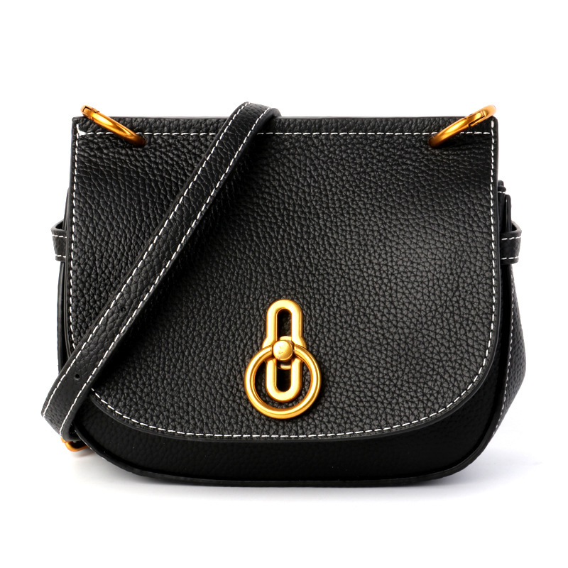 Ladies New Hot Genuine Leather Retro Elegant Atmosphere Saddle Bag Mature Women High Quality Simple Wild Color Messenger Bag