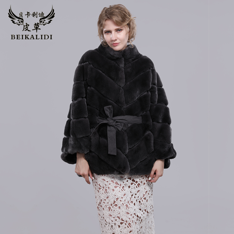 BEIKALIDI Для женщин реального кролика рекс шуба Для женщин зимние платок женский натуральный мех Бат рукавами пальто воротник дизайн куртка