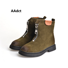 AAdct autumn new fashion kids boots Genuine leather Brand High quality girls boots British style boys boots