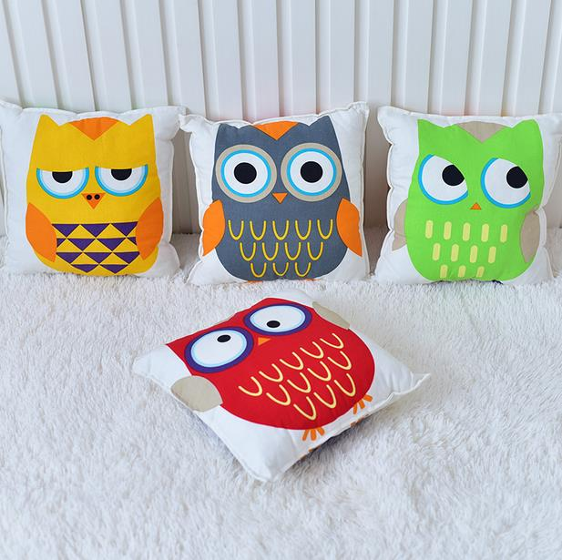 30*30CM Cotton Baby Pillow Lovely Canvas Owl Pattern Baby Small Pillow Sofa Cushions Children Tent Bedding Decorations