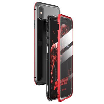 360 Full Protect Magnetic Case for iPhone XR XS MAX X 9 8 7 Plus SE 2020 Case Glass Cover for iPhone 11 Pro Max Case coque Funda - For iPhone 11Pro Max, Black red