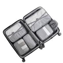 7 pz/set di Alta Qualità kit di accessori Da Viaggio Capacità sacchetto di immagazzinaggio Della Maglia Deposito Organizer Imballaggio Cube per Abbigliamento sacchetto della biancheria intima