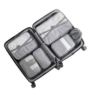 Image 1 - 7 pz/set di Alta Qualità kit di accessori Da Viaggio Capacità sacchetto di immagazzinaggio Della Maglia Deposito Organizer Imballaggio Cube per Abbigliamento sacchetto della biancheria intima