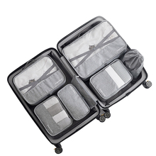 7 개/대 고품질 용량 여행 액세서리 키트 메쉬 스토리지 수하물 주최자 포장 큐브 의류 속옷 가방에 대 한