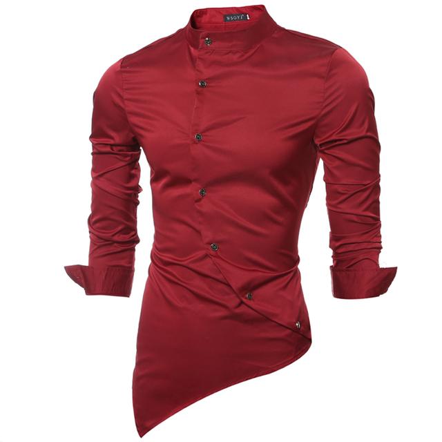 Marca 2017 de La Moda Masculina Camisa de Mangas Largas de Cuello Mandarín Tops Tela de Satén de Alta Calidad Para Hombre Camisas de Vestir de Los Hombres Delgados camisa 2XL
