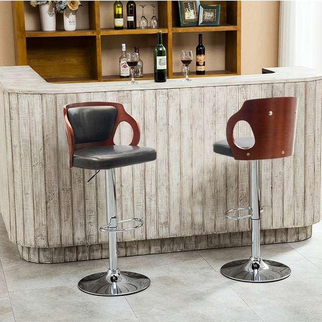Online Shop Homall Bar Stool Walnut Bentwood Adjustable Height