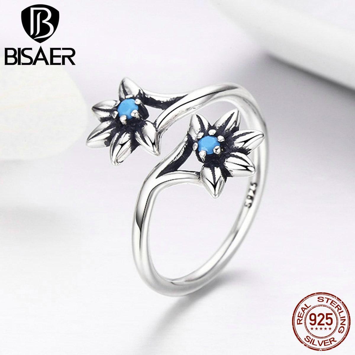 100% 925 Sterling Silber Blau Cz, Daisy Blühende Open Finger Ringe Für Frauen Mädchen Mode-ring Schmuck Engagement Geschenk