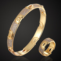 zlxgirl jewelry rose gold letter copper bangle jewelry sets cubic zircon wedding bangle&ring accessories women's size braceletes