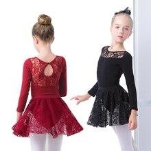 Girls Ballet Dress Gymnastic Leotards Lace Skirted Leotards Long Sleeve Kids Toddler Gymnastic Swimsuit For Dancing skirts