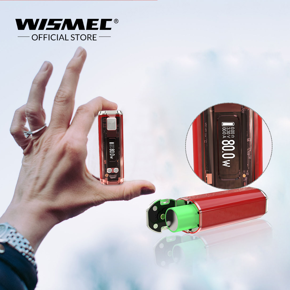 Original WISMEC SINUOUS V80 TC Box Mod 80W Wattage VW/Bypass/TC/TCR Mode VS Sinuous P80 Mod Electronic Cigarette mod