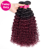 TODAY ONLY Burgundy 3 Bundles Deals Ombre Brazilian Hair Weave Bundles Kinky Curly Weave Human Hair Bundles Two Tone 1b 99j Remy