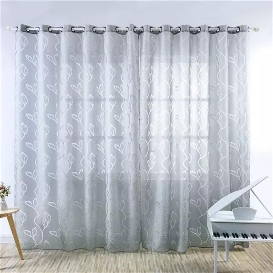 2018 High Quality Qractical Leaves Sheer Curtain Tulle Window Treatment Voile Drape Valance 1 Panel Fabric Gifts Dropshipping