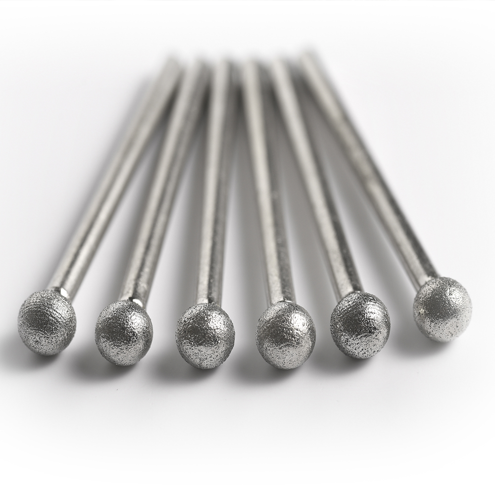 Shank 3MM  Fine Grain Ball Shape Diamond Grinding Burr Abrasive Needle Polishing Bits For Die Grinder/dremel/rotary Tools