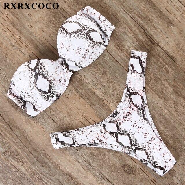 RXRXCOCO сексуальный пуш-ап бикини женский купальник 2019 бандо пляжная одежда в бразильском стиле комплект бикини купальник купальный костюм купальные костюмы