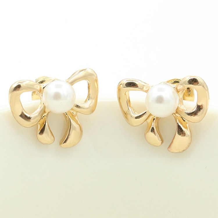 זהב וכסף קשת קשר התיכון לבן סימולציה פניני פירסינג Stud עגיל לנשים תכשיטים