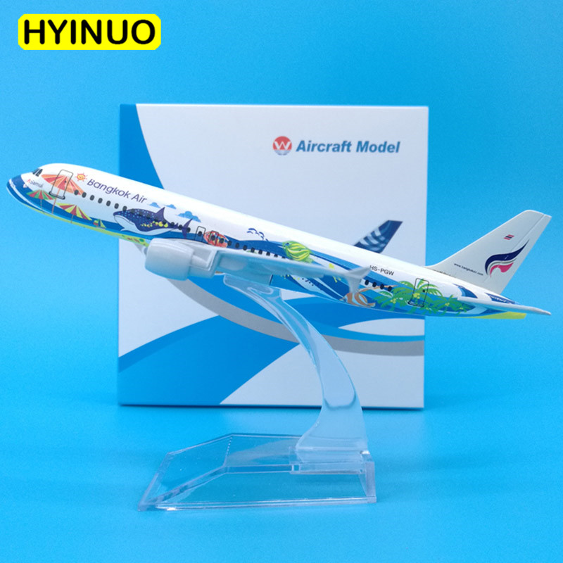 16CM 1:400 Airbus A320-200 Model Thailand Bankok Fish Airways Airlines W Base Alloy Aircraft Plane Collectible Model Collection
