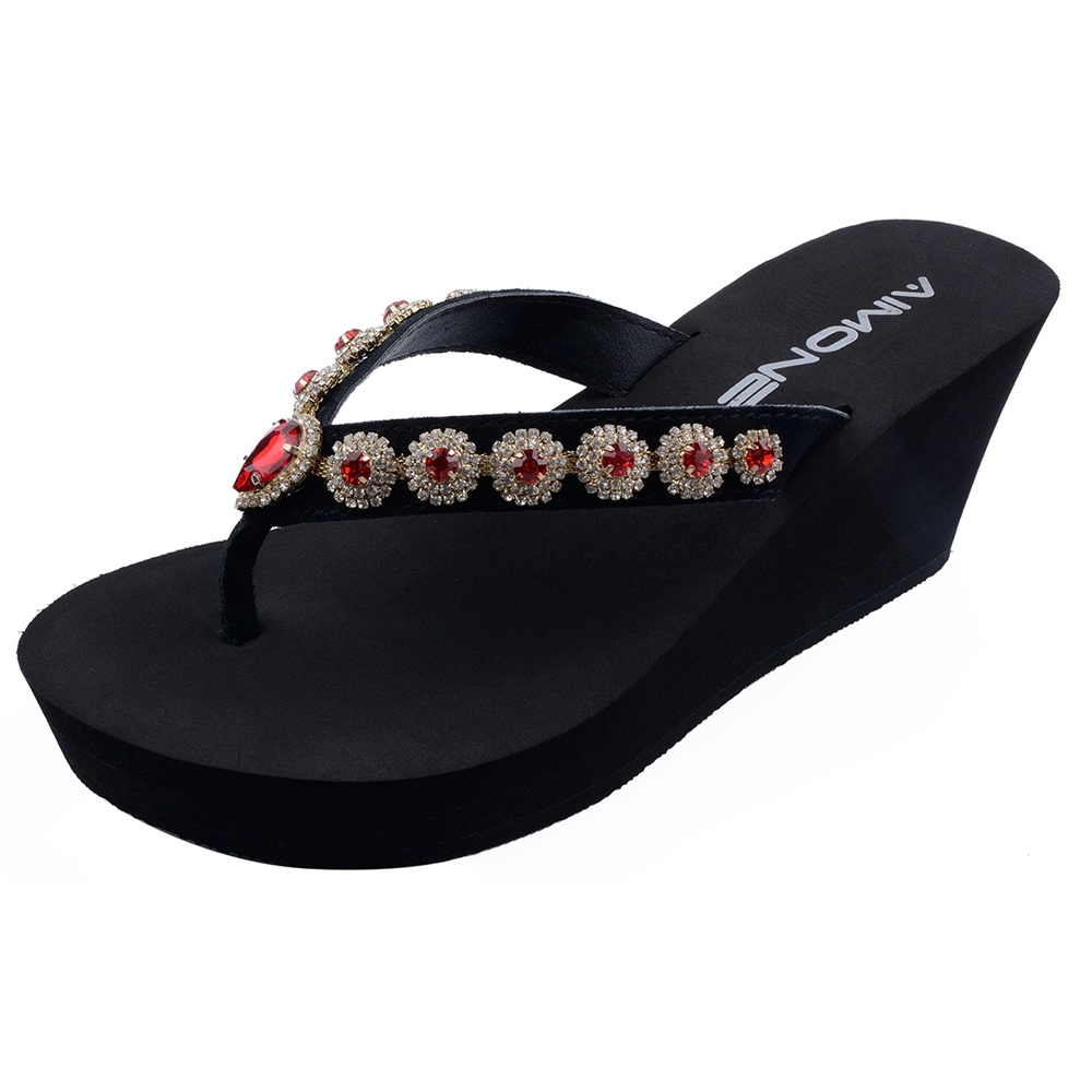 AIMONE Summer Sandals Women Flip Flops Beach Wedges Sandals High Heel Flip Flops Red Crystal Black Shoes Platform Slippers senza fretta summer women indoor flip flops high heel flowers slippers thick beach flip flops sandals wedges platform slippers