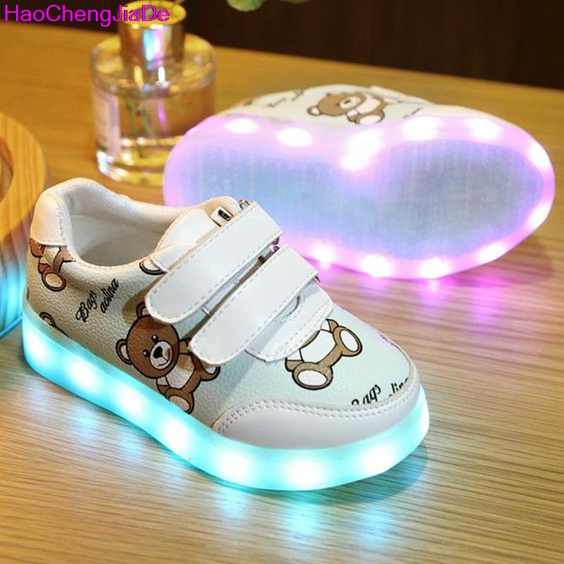 HaoChengJiaDe Children's Glowing Shoe USB Basket Led Toddler Child Shoes With Light Up Kids Luminous Sneakers Enfant For Boys 11 colorful basket led shoes for adults mens led light up shoes chaussure lumineuse led femme home glowing shoe for men