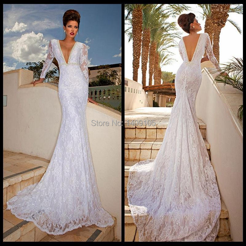 Best selling 2015 sexy deep v neck beading long sleeve for Tight fitted mermaid wedding dresses
