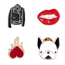 Fashion Simple Cartoon Jewelry Jacket Mini Red Lip Dog Head Brooch Cute Sweet Beauty Raw Collar Sweater Enamel Needle