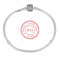100 925 Sterling Silver Square Snake Chain Charm Beads Fit Pandora Bracelet Charm For Women Authentic