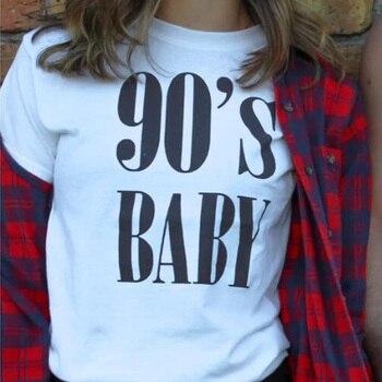 ac4ecace9 RAISEVERN Vintage despojado T camisa nueva ropa de moda para las mujeres  verano Tops carta 90 bebé ...