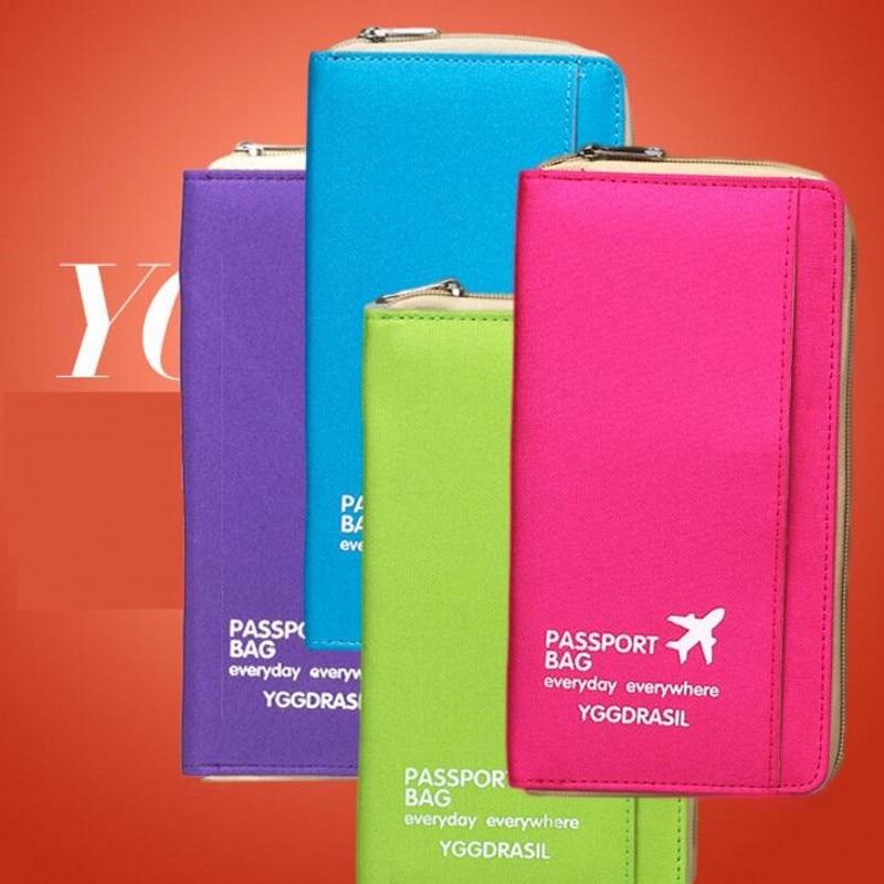 Dokumen Perjalanan Pelbagai Fungsi Panas yang Mengandungi Beg Penyimpanan Passport Wallet Portable Paket Set Pemegang Pasport Mengatur Bag
