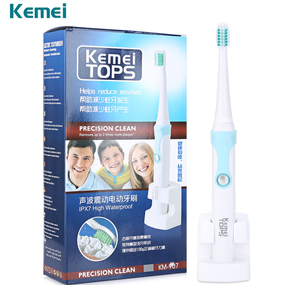Kemei KM-907 Ultrasonic Waterproof Rechargeable Electric Toothbrush Tooth Brush Electric With 3 Toothbrush Heads For Kid Adult 2pcs philips sonicare replacement e series electric toothbrush head with cap