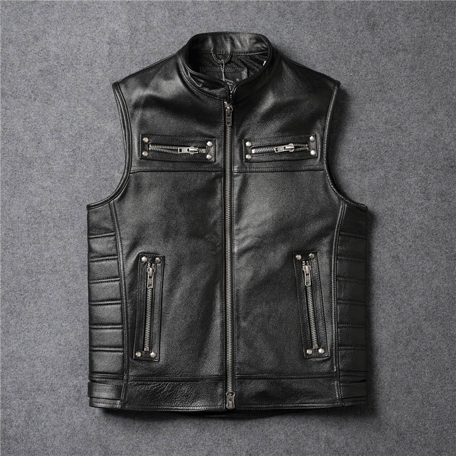d542d7308c11 BOMikeRonny Six-Different Styles Vests Compilations Summer Style Vintage  Leather Motorcycle Vest Mens For Big Sale