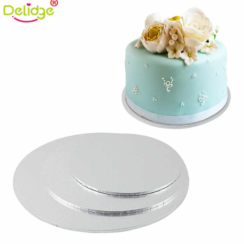 Delidge 2 Sizes Round Cake Stand Mat Wooden Cake Display Board  Strong Base Wedding Birthday Cake Holder Dropshipping