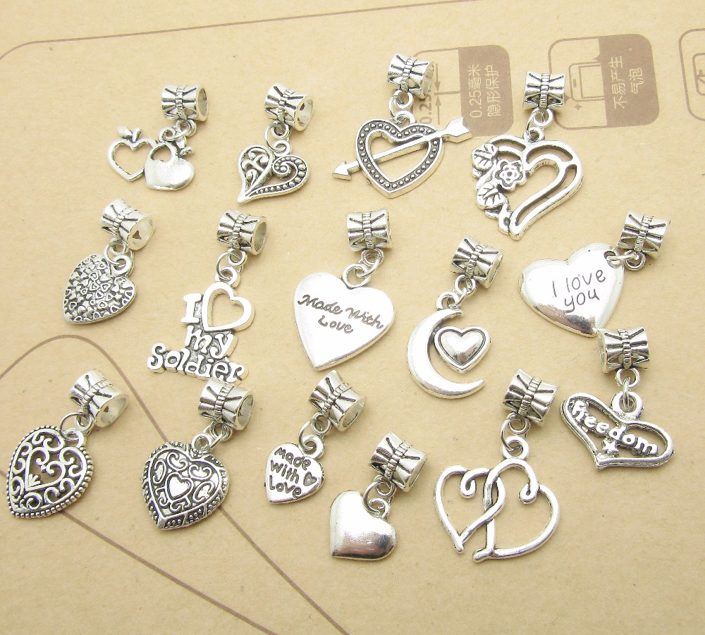 Pandora Style Jewelry: Mix 30pcs Vintage Heart Charm Big Hole Beads Fit For