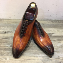 QYFCIOUFU Luxurious Italian Genuine Leather Men Brown Khaki Wedding Oxford Shoes Lace-Up Office Business Suit Men's Dress Shoe