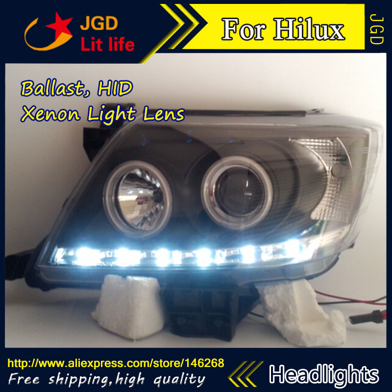 Free shipping ! Car styling LED HID Rio LED headlights Head Lamp case for Toyota HILUX VIGO 2004-2010 Bi-Xenon Lens low beam 2 pc free shipping rear sticker hilux for toyota hilux vigo revo
