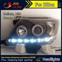 Free shipping ! Car styling LED HID Rio LED headlights Head Lamp case for Toyota HILUX VIGO 2004 2010 Bi Xenon Lens low beam