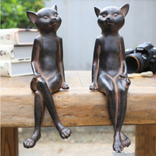 American Style Retro Cat Figurine 2PCS/SET Table Sitting Room Furnishing Articles Modern Minimalist Home Crafts Decorations(China)